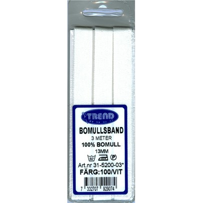Bomullsband 13 mm Vit